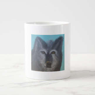 Beautiful black wolf large coffee mug