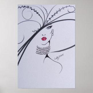 Beautiful blk & wht Fashion Illustration Poster