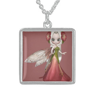 Beautiful Blond Princess Fairy Girl Sterling Silver Necklace