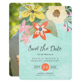 Beautiful Blooms Photo Save the Date Card 13 Cm X 18 Cm Invitation Card