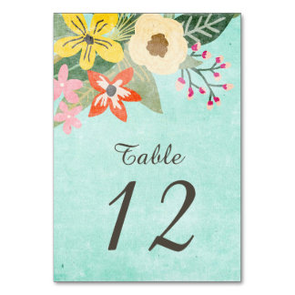 Beautiful Blooms Table Number Card