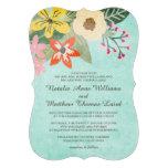 Beautiful Blooms Wedding Invitation / Aqua