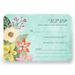Beautiful Blooms Wedding RSVP Card / Aqua