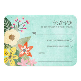 Beautiful Blooms Wedding RSVP Card / Aqua 9 Cm X 13 Cm Invitation Card