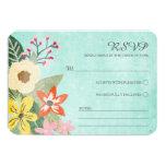 Beautiful Blooms Wedding RSVP Card / Aqua Custom Announcement