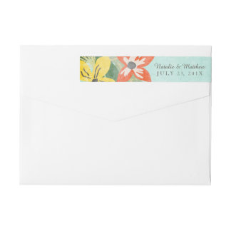 Beautiful Blooms Wedding Wraparound Labels / Aqua