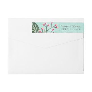 Beautiful Blooms Wedding Wraparound Labels / Aqua Wraparound Return Address Label