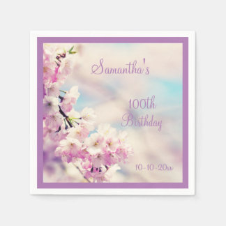 Beautiful Blossom 100th Birthday Disposable Serviettes