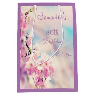 Beautiful Blossom 80th Birthday Party Medium Gift Bag