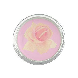 Beautiful Blossoms Pink, White Rose Custom Ring