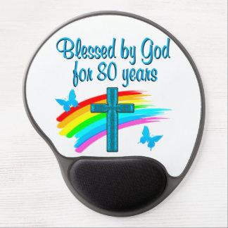 BEAUTIFUL BLUE 80TH BIRTHDAY CHRISTIAN DESIGN GEL MOUSE PAD