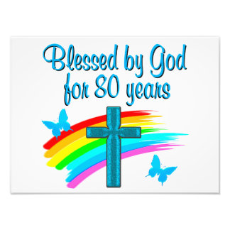 BEAUTIFUL BLUE 80TH BIRTHDAY CHRISTIAN DESIGN PHOTOGRAPH