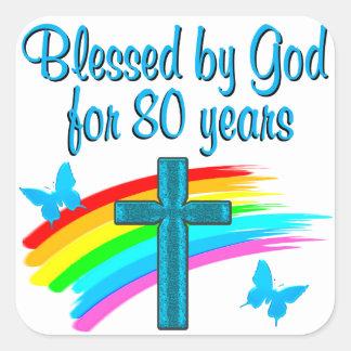 BEAUTIFUL BLUE 80TH BIRTHDAY CHRISTIAN DESIGN SQUARE STICKER