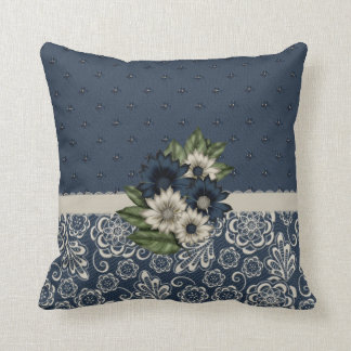 Beautiful Blue and Ivory Flowers Pillow