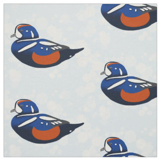 Beautiful Blue and Orange Harlequin Ducks Fabric