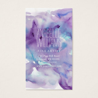 Beautiful Blue and Purple Watercolor Business Card