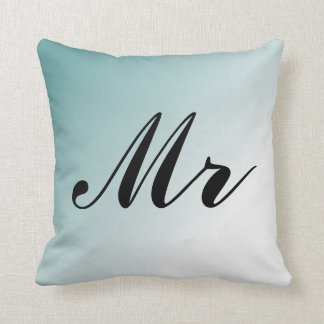 Beautiful Blue and White Gradient Mr and Mrs Cushion