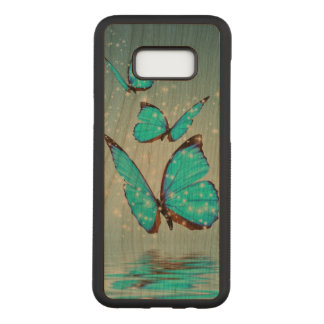 beautiful blue  butterflies carved samsung galaxy s8+ case