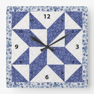 Beautiful Blue Calico Quilted Look Square Wall Clock