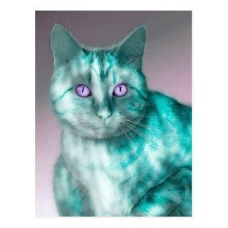 Beautiful blue cat with purple eyes illustration postcard