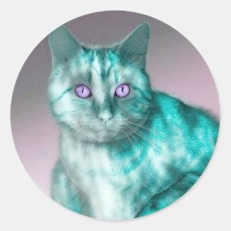 Beautiful blue cat with purple eyes illustration round sticker