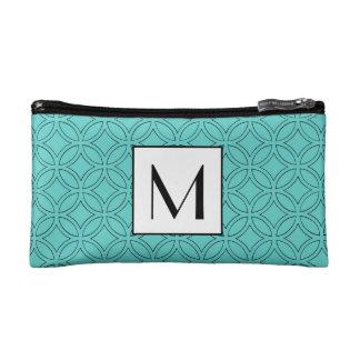 Beautiful Blue Circle Pattern Border Monogram Cosmetic Bag