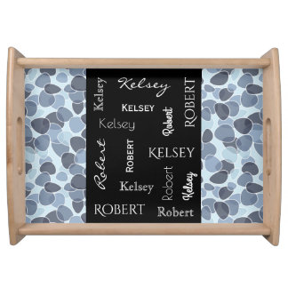 Beautiful Blue Contemporary w/Names Serving Tray