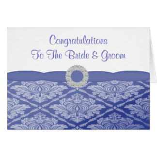 Beautiful Blue Damask Congrats Greeting Card