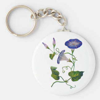 Beautiful Blue Embroidered Morning Glories Basic Round Button Key Ring