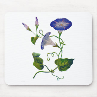 Beautiful Blue Embroidered Morning Glories Mouse Pad