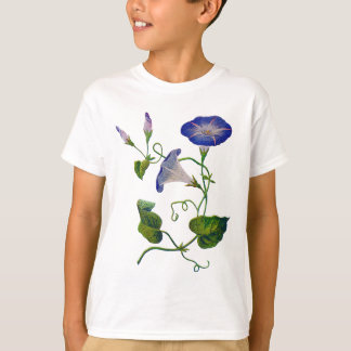 Beautiful Blue Embroidered Morning Glories T-Shirt