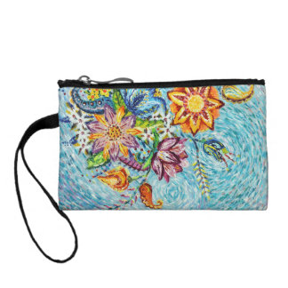 Beautiful Blue Flower Abstract Coin Clutch Coin Wallet