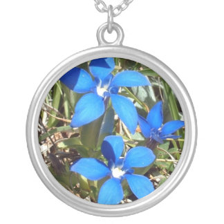 Beautiful Blue Gentian Alpine Flowers Silver Plated Necklace