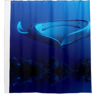 Beautiful Blue Giant Manta Ray Shower Curtain