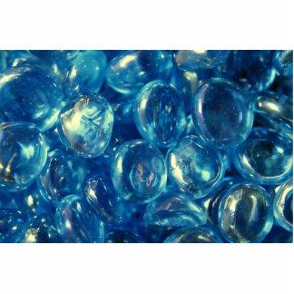 Beautiful Blue Glass Pebbles Standing Photo Sculpture