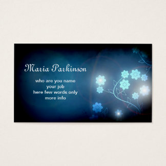 beautiful blue glow flowers business card