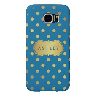 Beautiful Blue Gold Glitter Polka Dots Pattern Samsung Galaxy S6 Cases