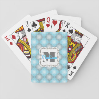 Beautiful Blue & Gray Checkers Poker Deck