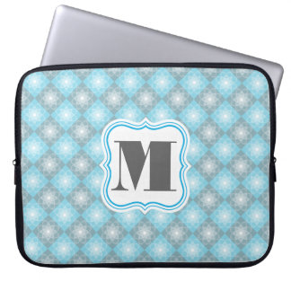 Beautiful Blue & Gray Checkers w/Monogram Laptop Sleeve