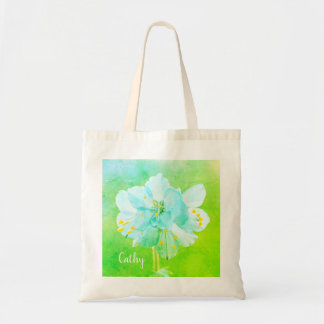 Beautiful Blue Green Flower Custom Budget Tote
