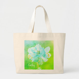 Beautiful Blue Green Flower Custom Jumbo Tote