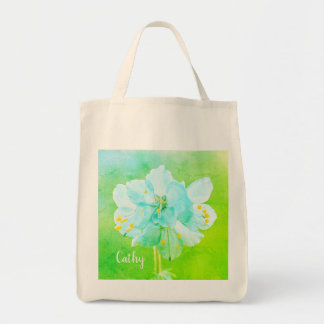 Beautiful Blue Green Flower Grocery Custom Tote