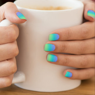 Beautiful Blue Green Pattern Minx Minx Nail Art
