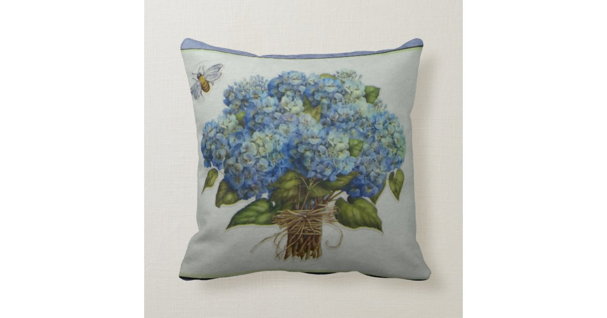 Blue Hydrangea Throw Pillow : beautiful blue hydrangeas with a bee throw pillow Zazzle