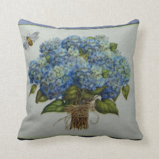 beautiful blue hydrangeas with a bee throw pillow
