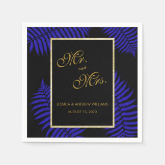 Beautiful Blue Leaf Bracken Wedding Paper Napkin