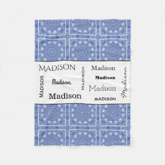 Beautiful Blue Mandala w/Name Fleece Blanket