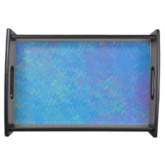 Beautiful Blue Marbled Paper Look Serving Tray