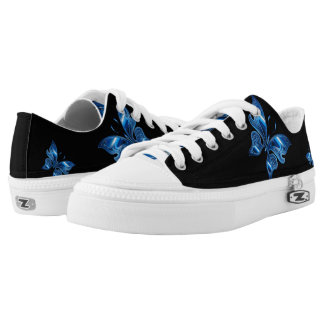 Beautiful Blue Metallic Butterfly Printed Shoes