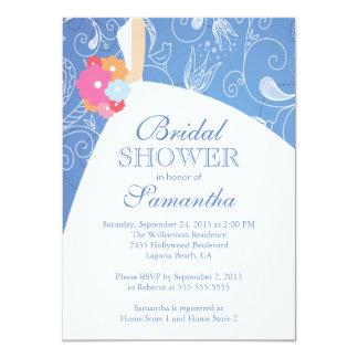Beautiful Blue Modern Bride Bridal Shower 11 Cm X 16 Cm Invitation Card